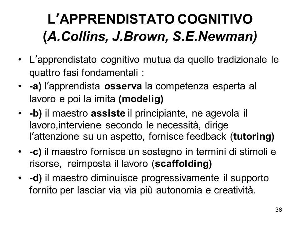 L'APPRENDISTATO COGNITIVO (A.Collins, J.Brown, S.E.Newman)
