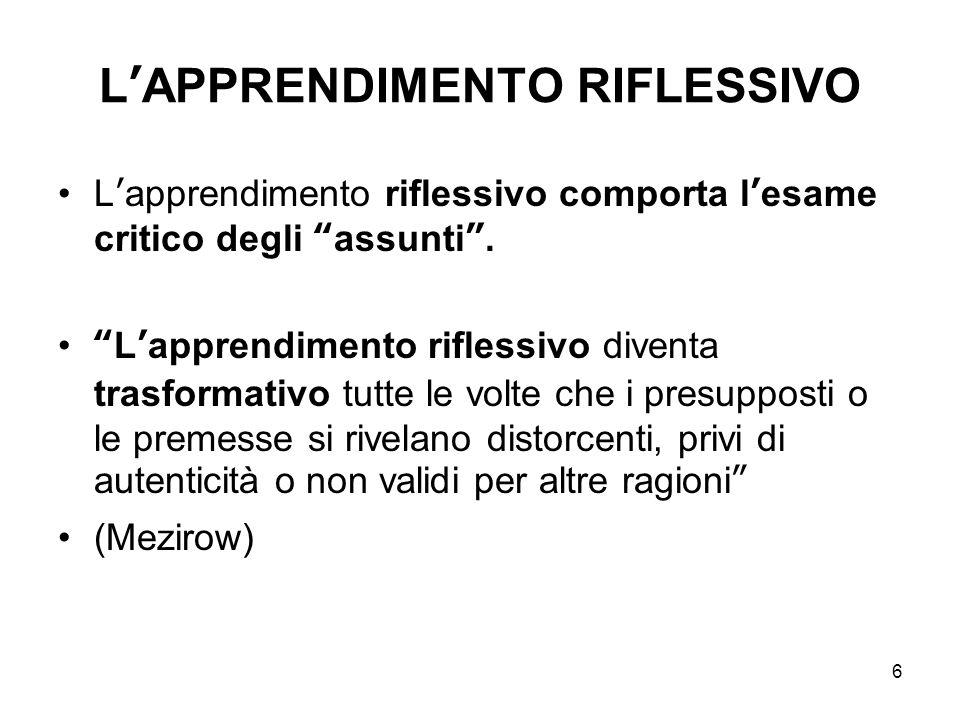 L'APPRENDIMENTO RIFLESSIVO