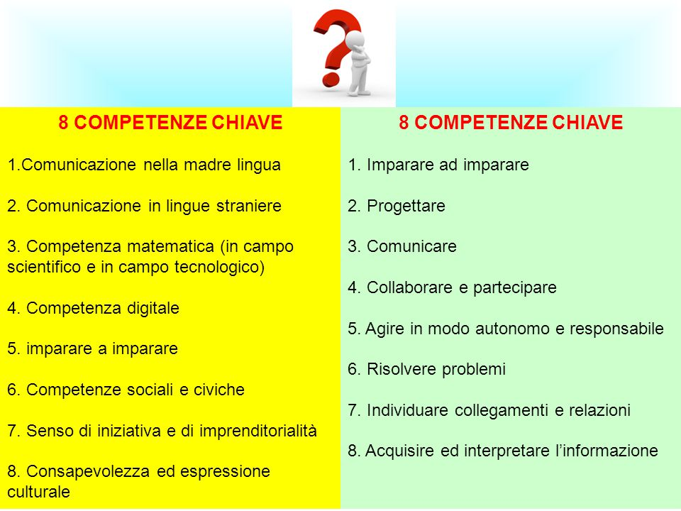 8 COMPETENZE CHIAVE 8 COMPETENZE CHIAVE