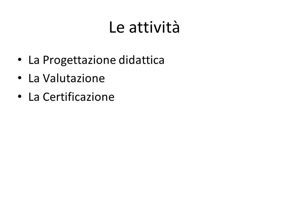 Le attività La Progettazione didattica La Valutazione