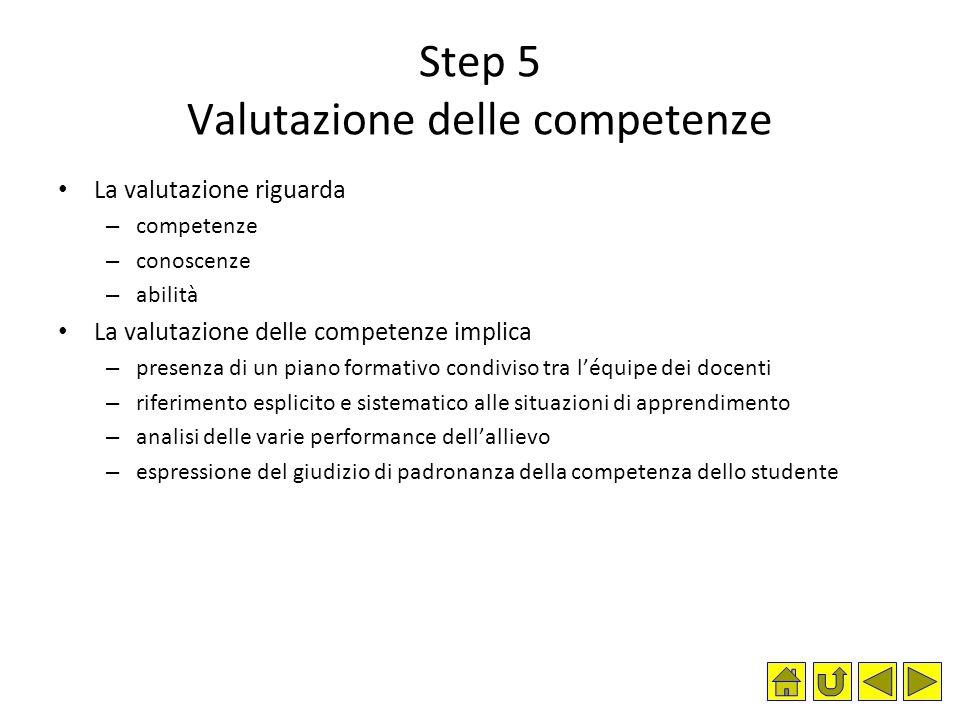 Step 5 Valutazione delle competenze