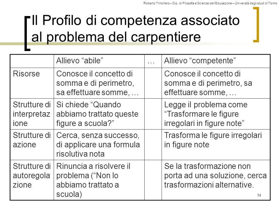 Il Profilo di competenza associato al problema del carpentiere
