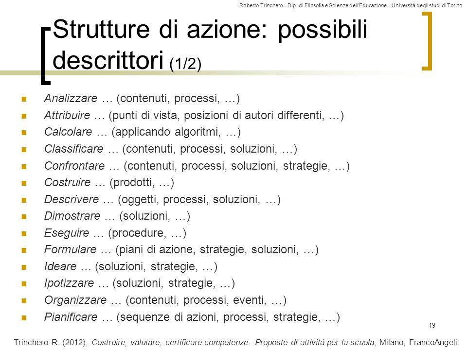 Strutture di azione: possibili descrittori (1/2)