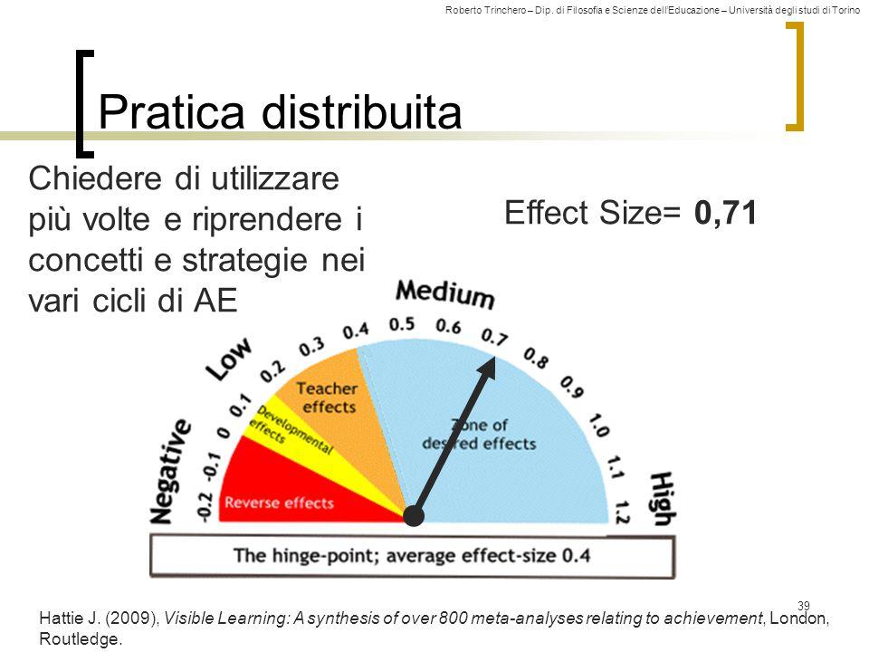 Pratica distribuita Chiedere di utilizzare più volte e riprendere i concetti e strategie nei vari cicli di AE.