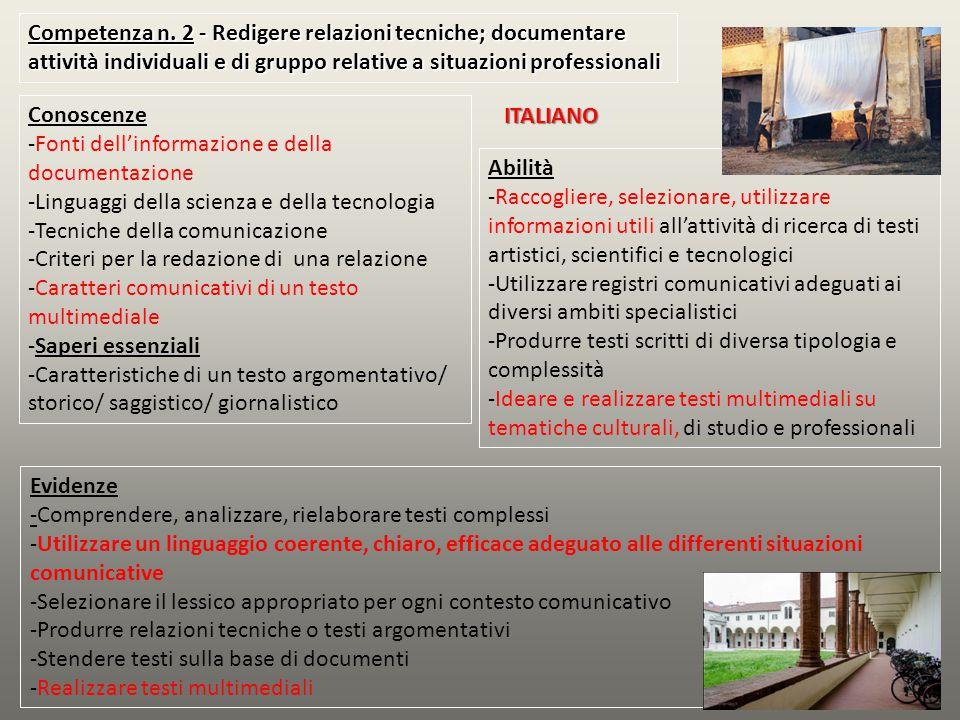 Competenza n. 2 - Redigere relazioni tecniche; documentare attività individuali e di gruppo relative a situazioni professionali