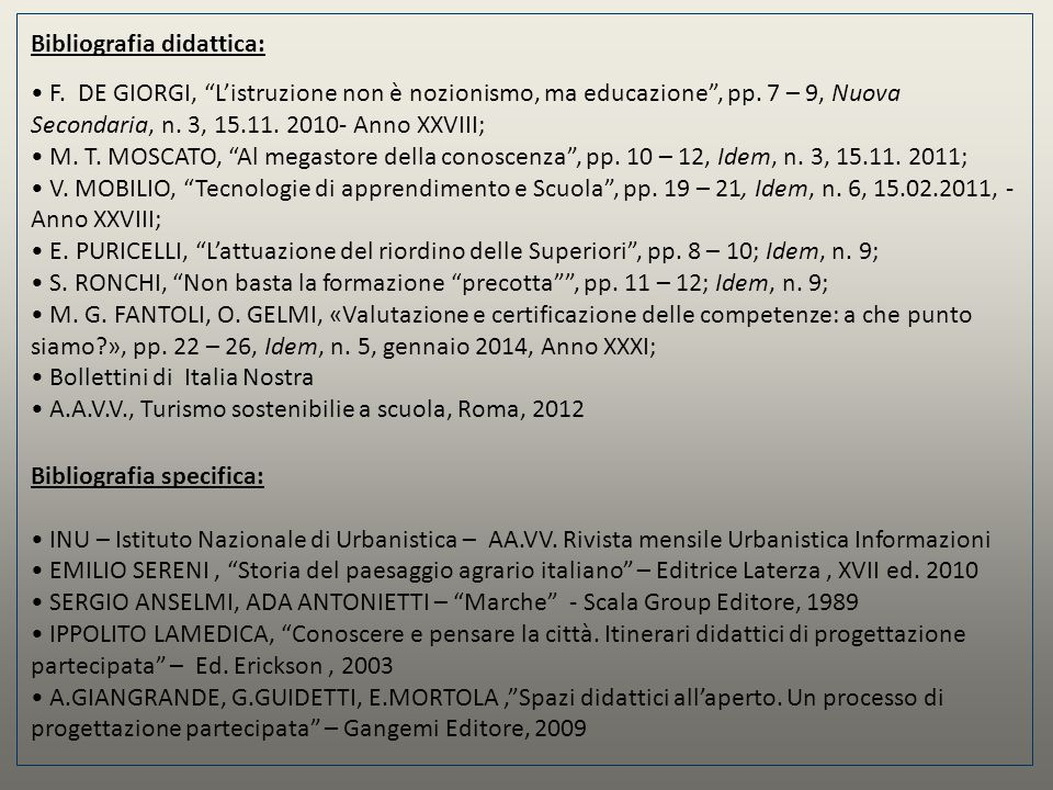 Bibliografia didattica: