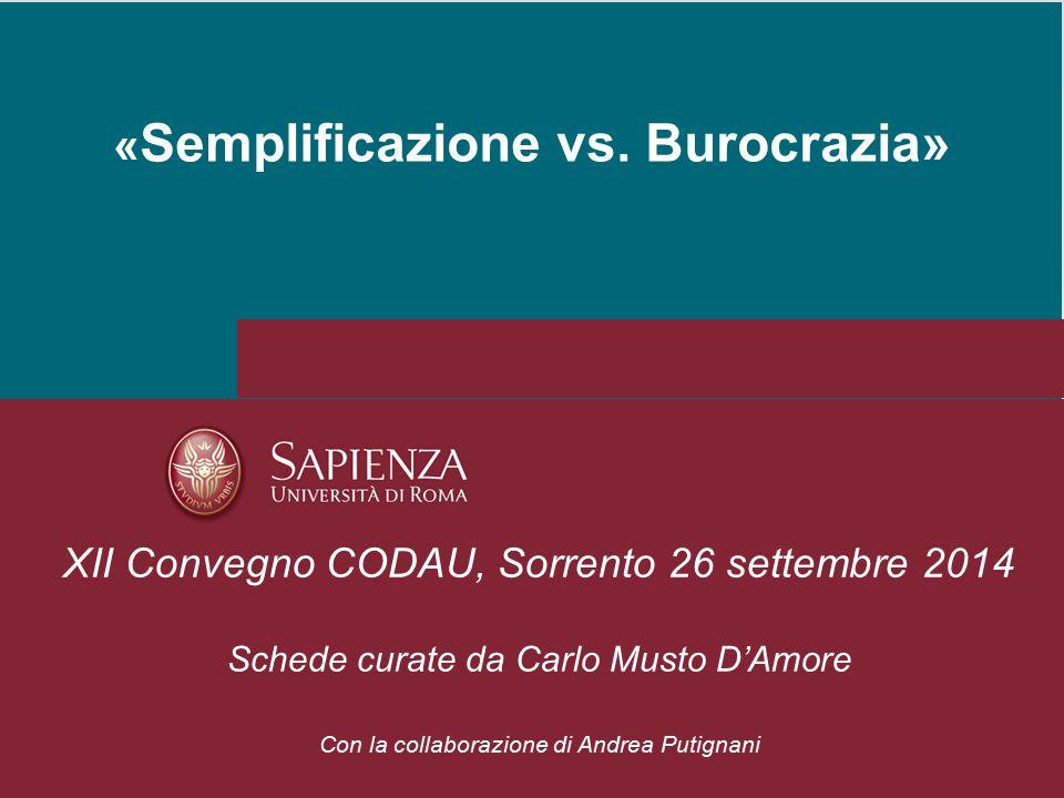 «Semplificazione vs. Burocrazia»