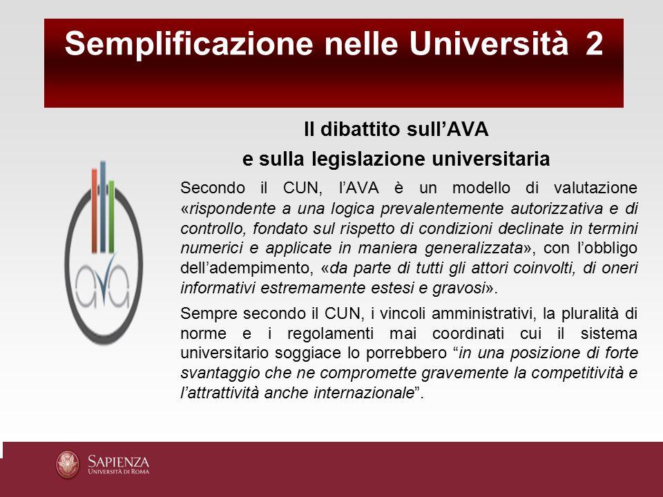 Semplificazione nelle Università 2 e sulla legislazione universitaria