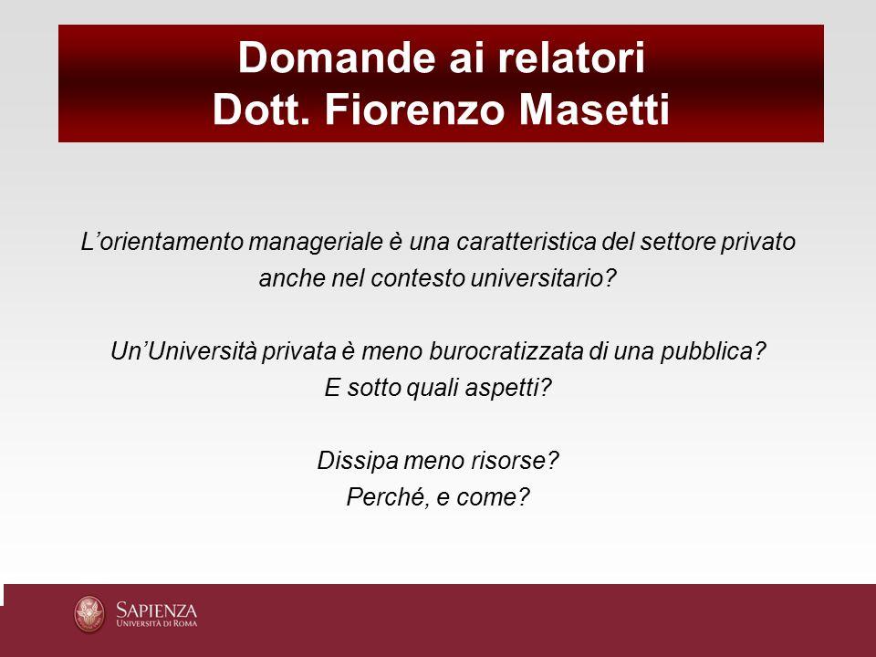 Domande ai relatori Dott. Fiorenzo Masetti