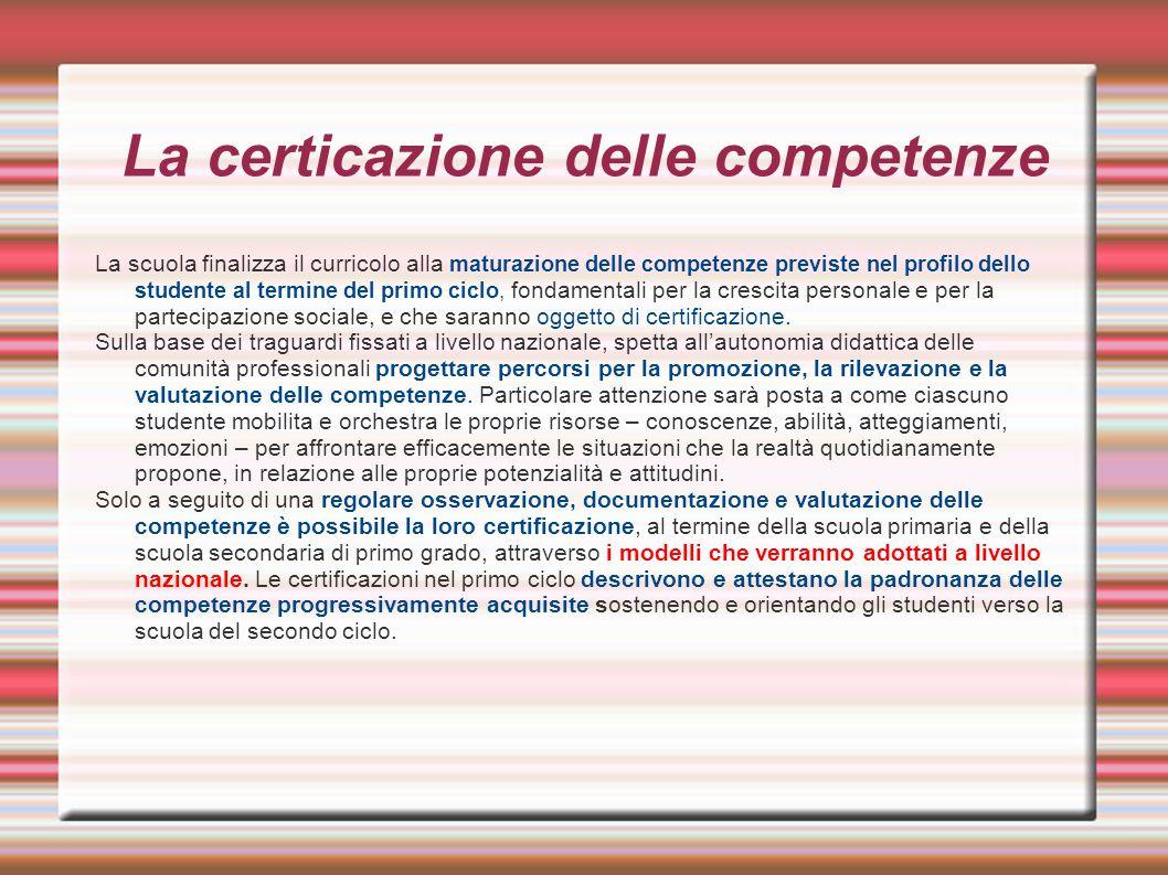 La certicazione delle competenze