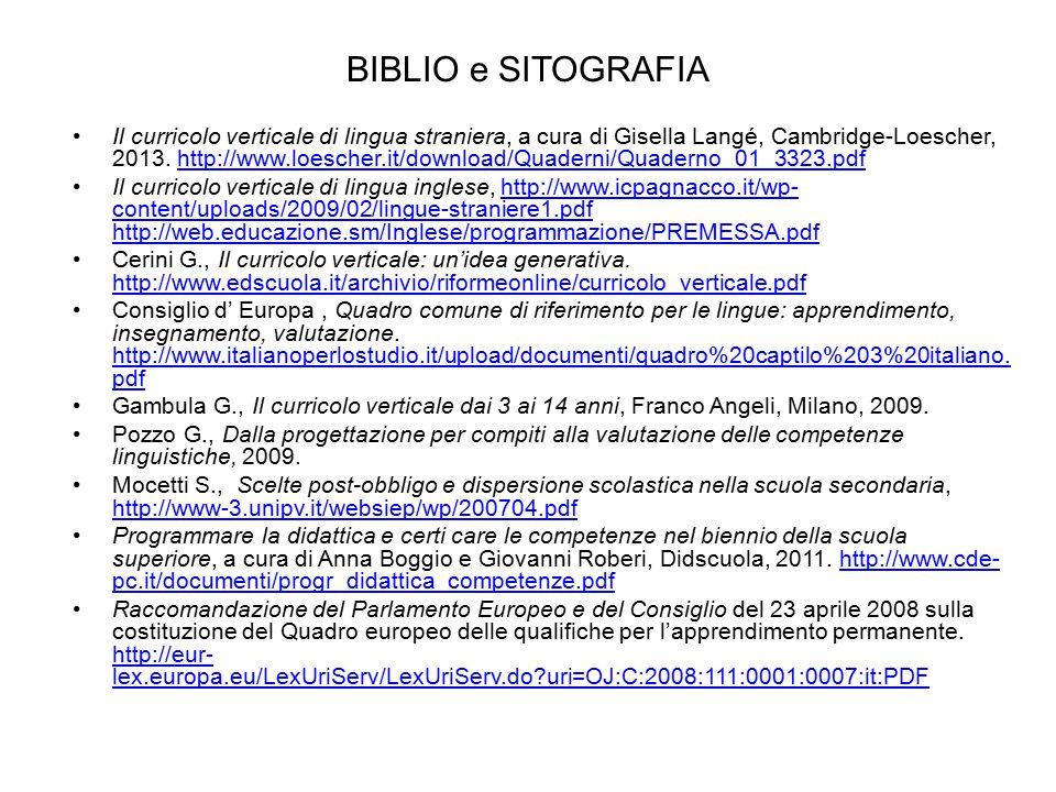 BIBLIO e SITOGRAFIA