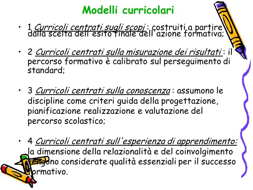 Modelli curricolari 1 Curricoli centrati sugli scopi : costruiti a partire dalla scelta dell esito finale dell azione formativa;
