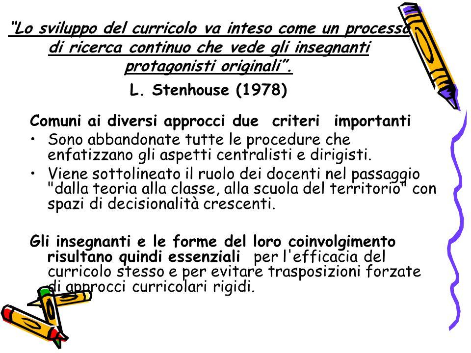 Lo sviluppo del curricolo va inteso come un processo di ricerca continuo che vede gli insegnanti protagonisti originali . L. Stenhouse (1978)