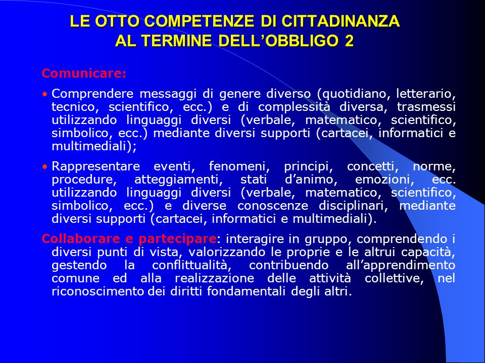 LE OTTO COMPETENZE DI CITTADINANZA AL TERMINE DELL'OBBLIGO 2