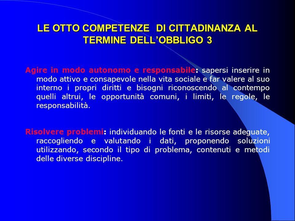 LE OTTO COMPETENZE DI CITTADINANZA AL TERMINE DELL'OBBLIGO 3