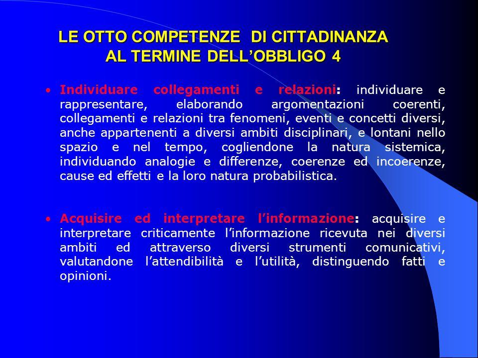 LE OTTO COMPETENZE DI CITTADINANZA AL TERMINE DELL'OBBLIGO 4