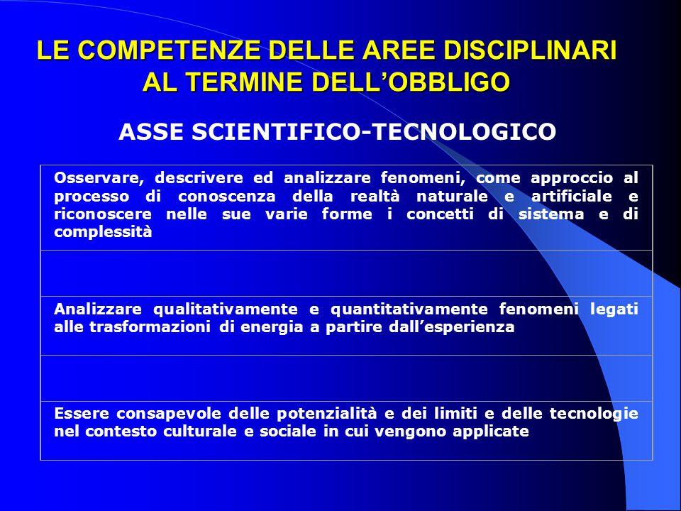 LE COMPETENZE DELLE AREE DISCIPLINARI AL TERMINE DELL'OBBLIGO