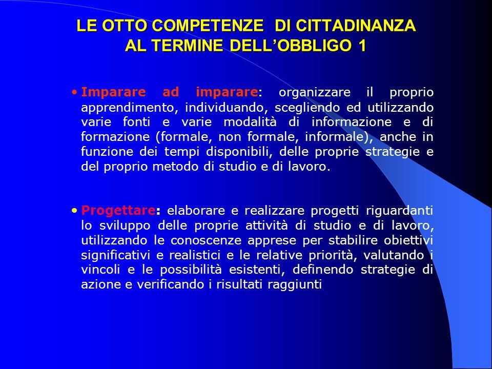 LE OTTO COMPETENZE DI CITTADINANZA AL TERMINE DELL'OBBLIGO 1