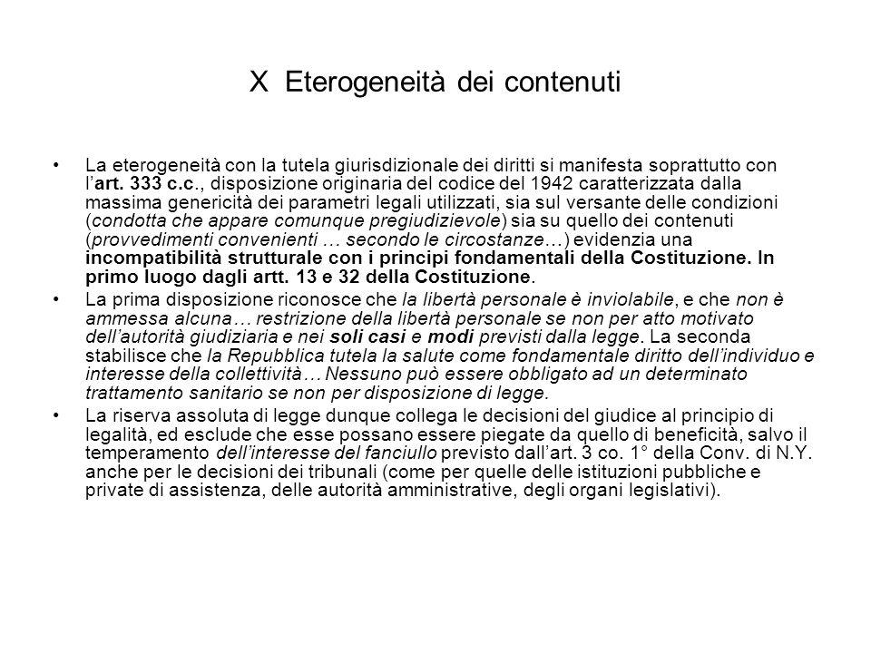 X Eterogeneità dei contenuti