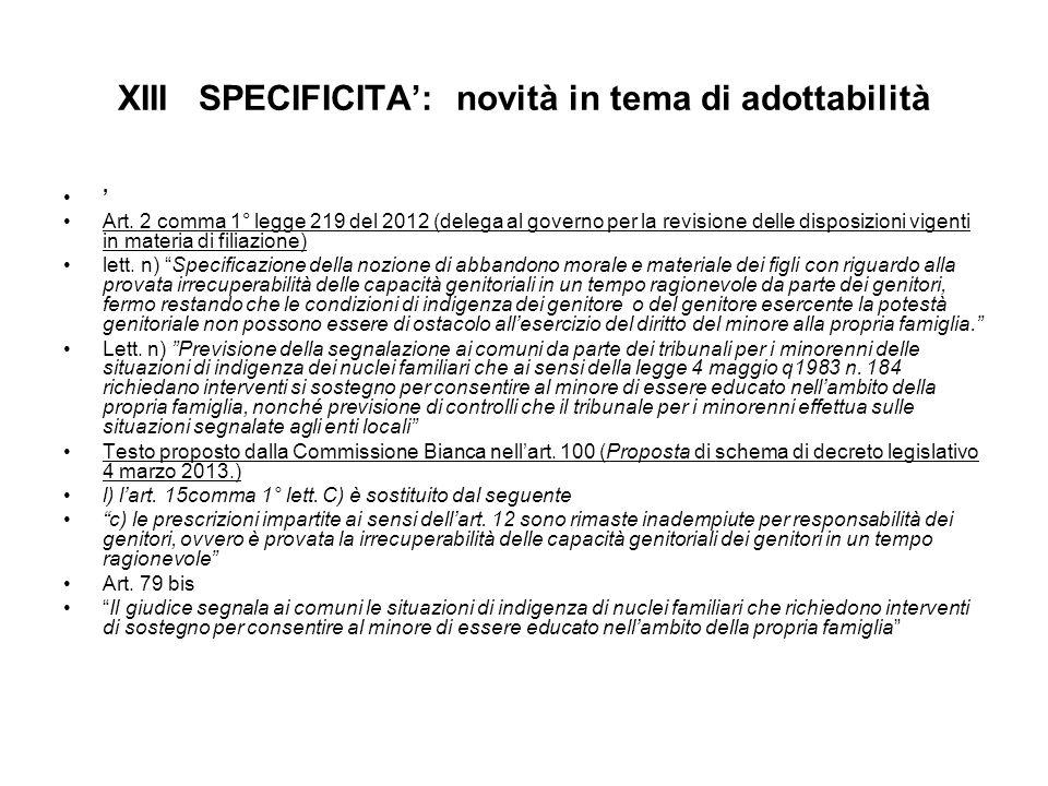 XIII SPECIFICITA': novità in tema di adottabilità