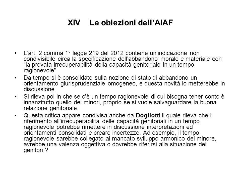XIV Le obiezioni dell'AIAF