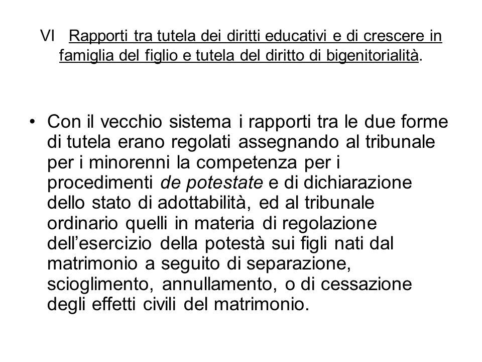 VI Rapporti tra tutela dei diritti educativi e di crescere in famiglia del figlio e tutela del diritto di bigenitorialità.