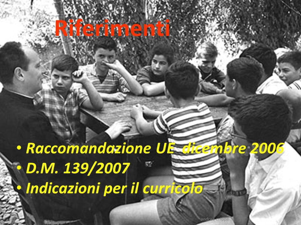 Riferimenti Raccomandazione UE dicembre 2006 D.M. 139/2007