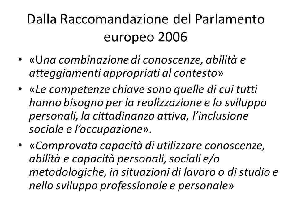 Dalla Raccomandazione del Parlamento europeo 2006