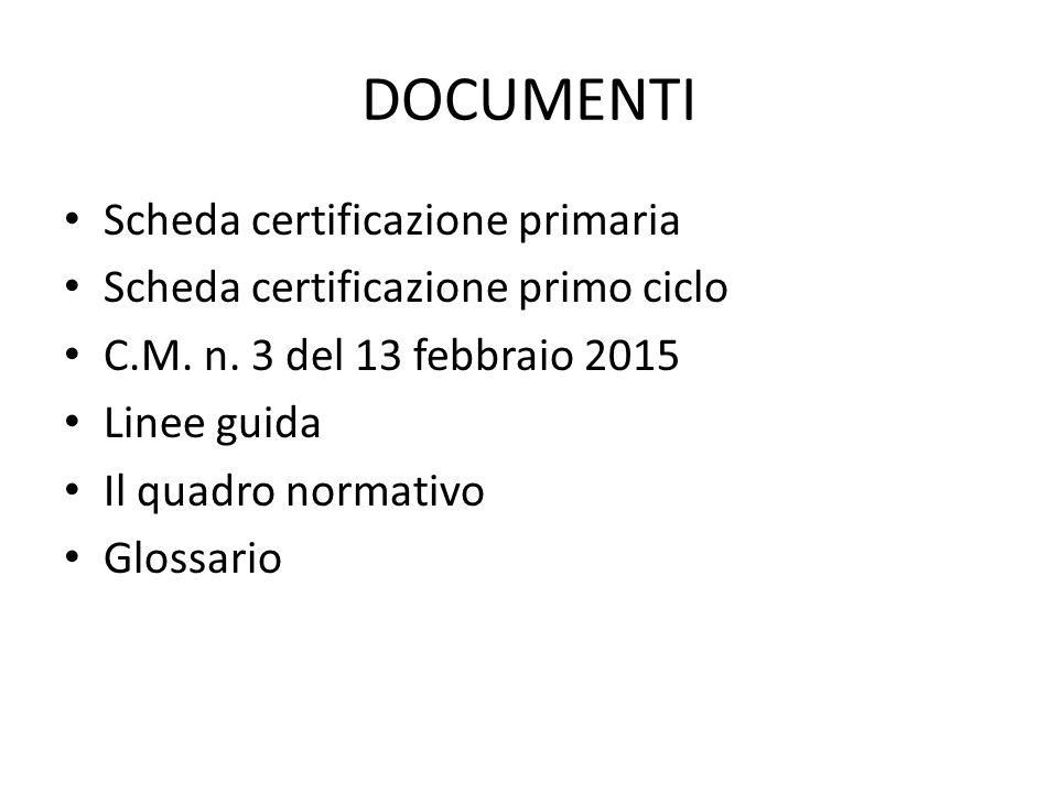 DOCUMENTI Scheda certificazione primaria