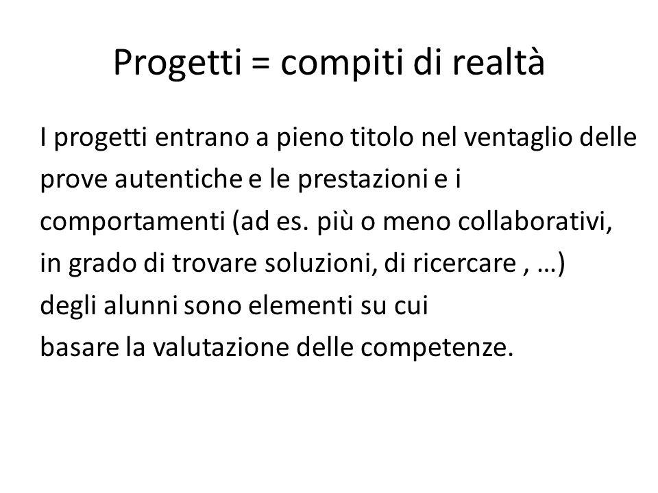 Progetti = compiti di realtà