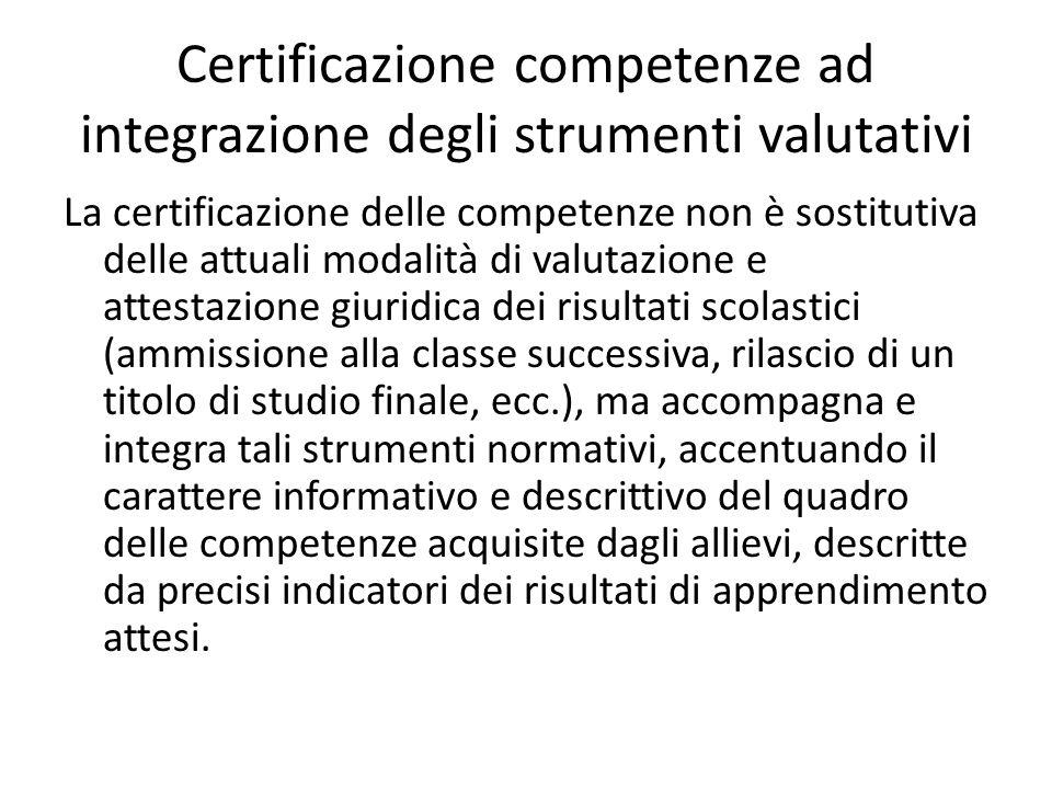 Certificazione competenze ad integrazione degli strumenti valutativi