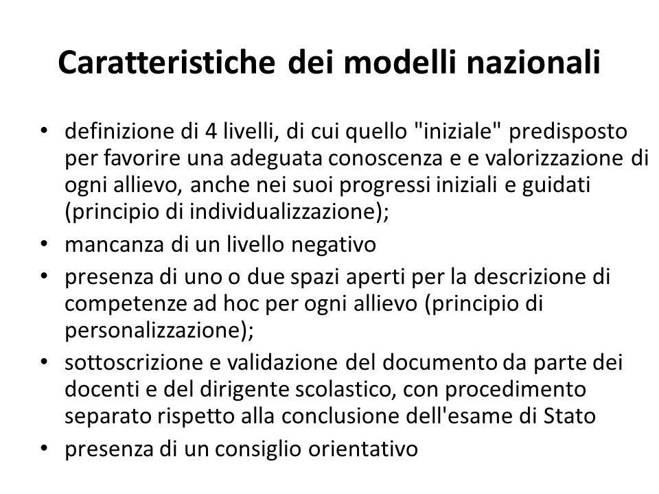 Caratteristiche dei modelli nazionali