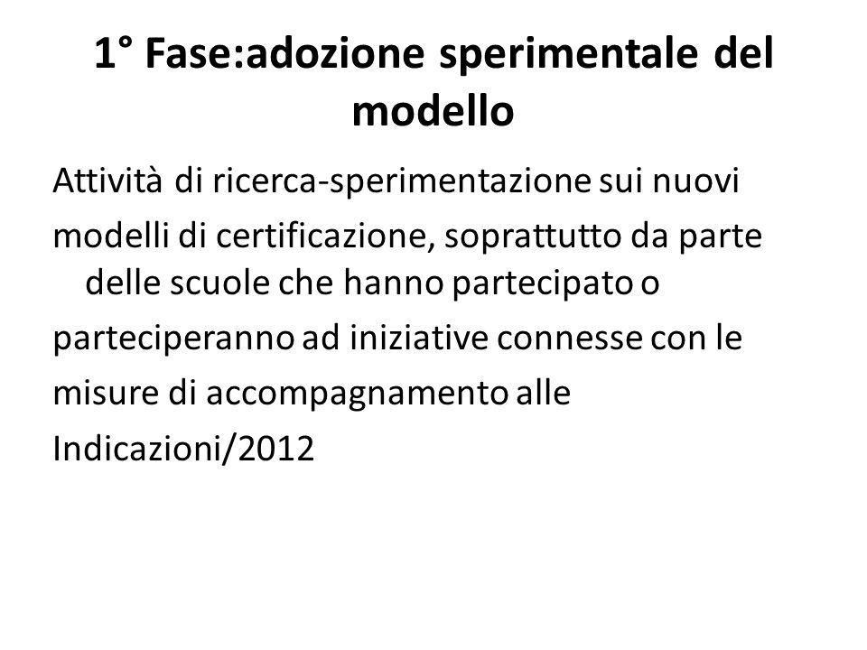 1° Fase:adozione sperimentale del modello