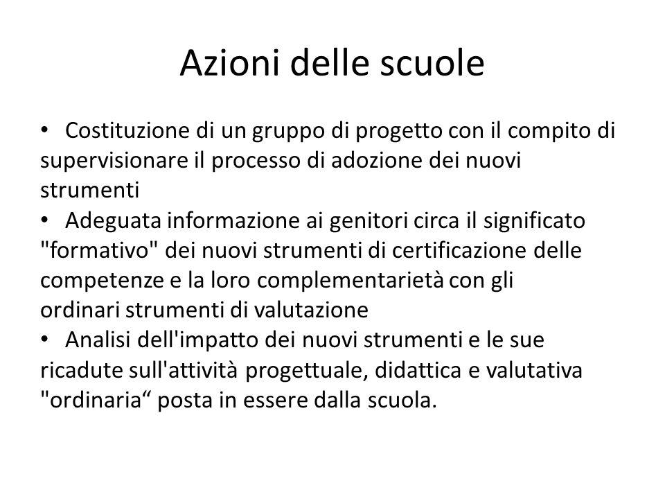 Azioni delle scuole Costituzione di un gruppo di progetto con il compito di. supervisionare il processo di adozione dei nuovi.
