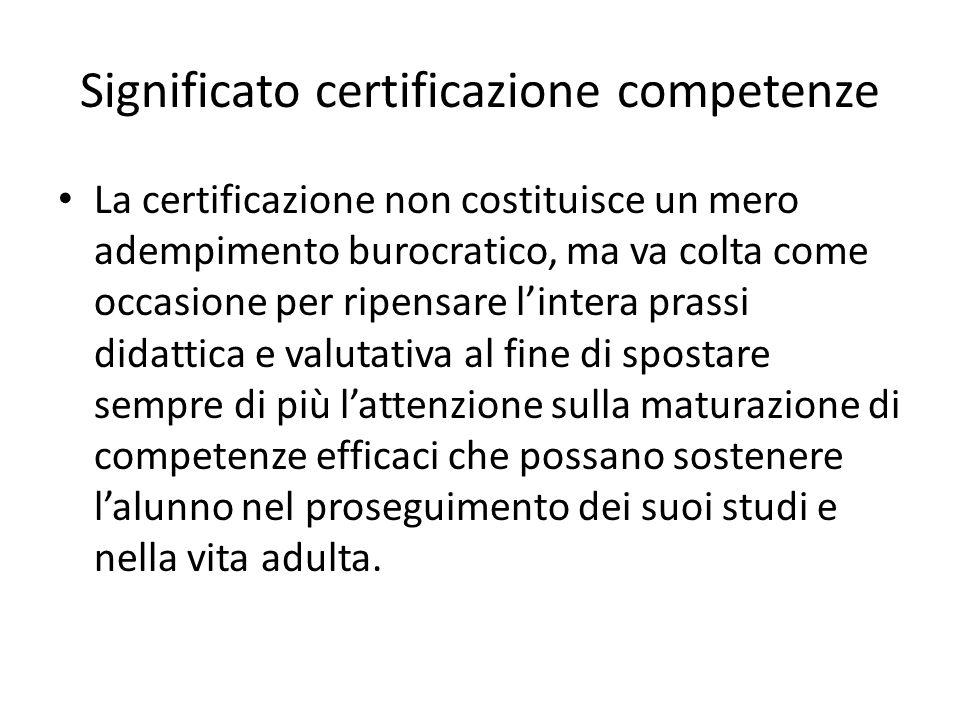 Significato certificazione competenze