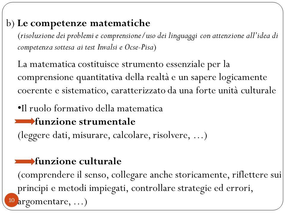 b) Le competenze matematiche