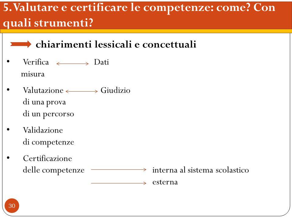 5. Valutare e certificare le competenze: come Con quali strumenti