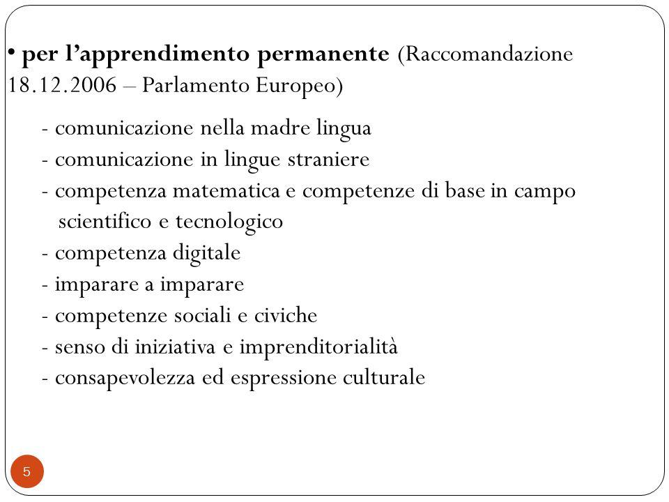 per l'apprendimento permanente (Raccomandazione 18. 12