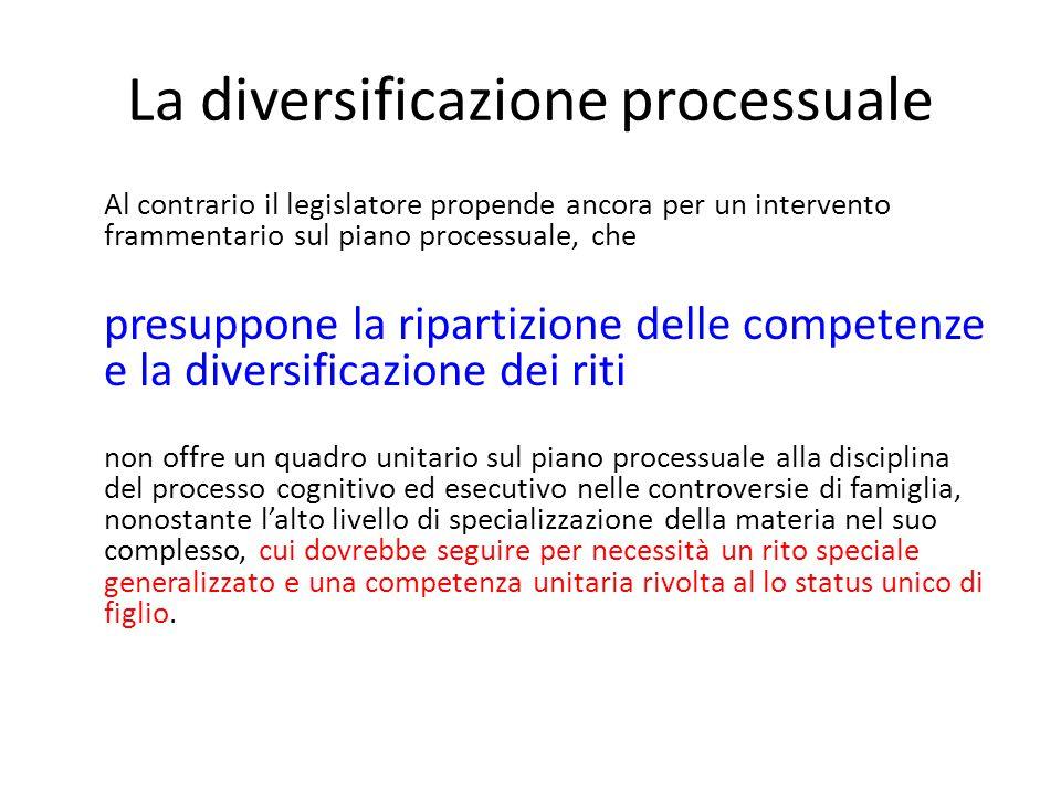 La diversificazione processuale
