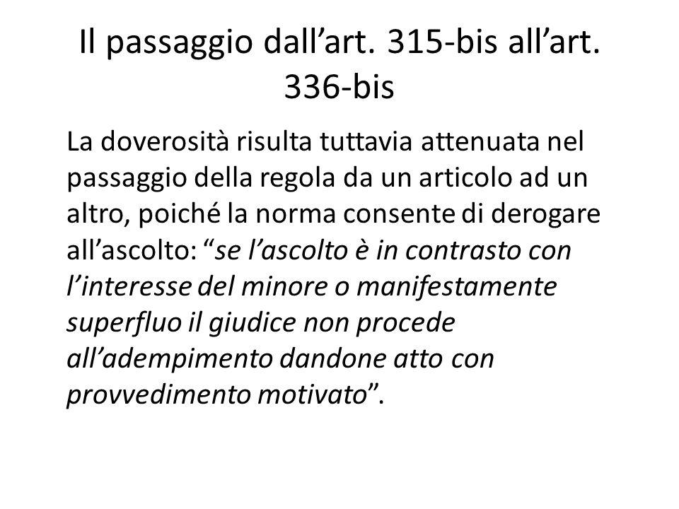 Il passaggio dall'art. 315-bis all'art. 336-bis