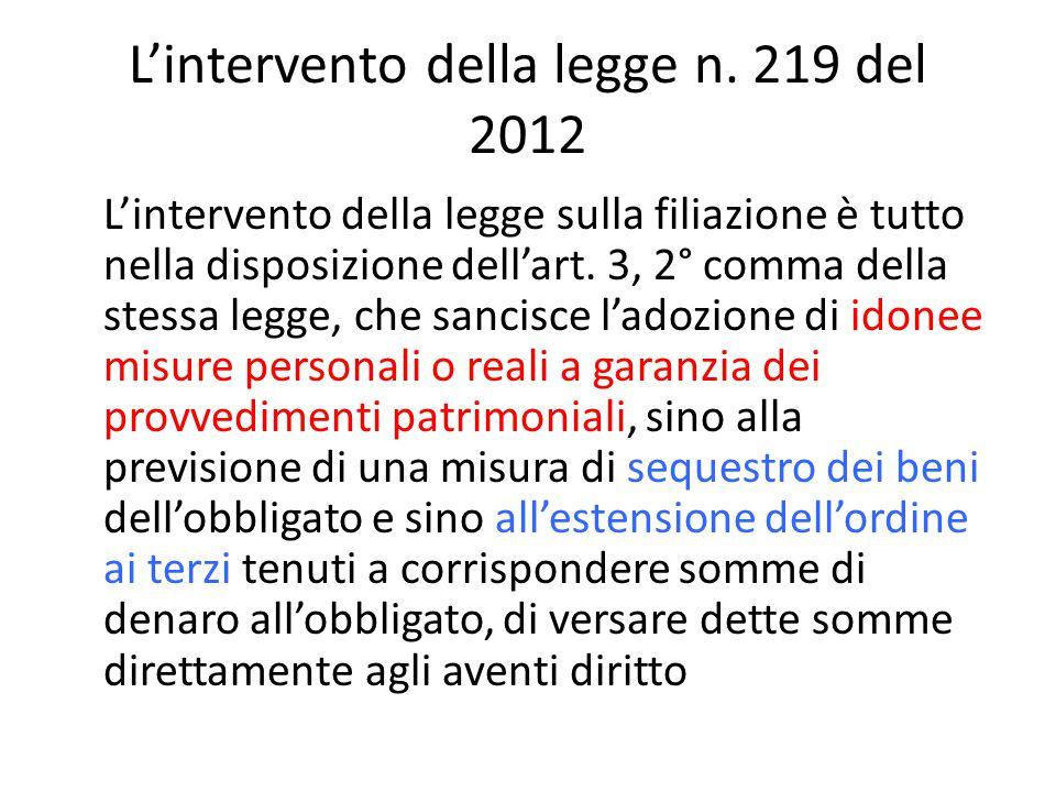 L'intervento della legge n. 219 del 2012