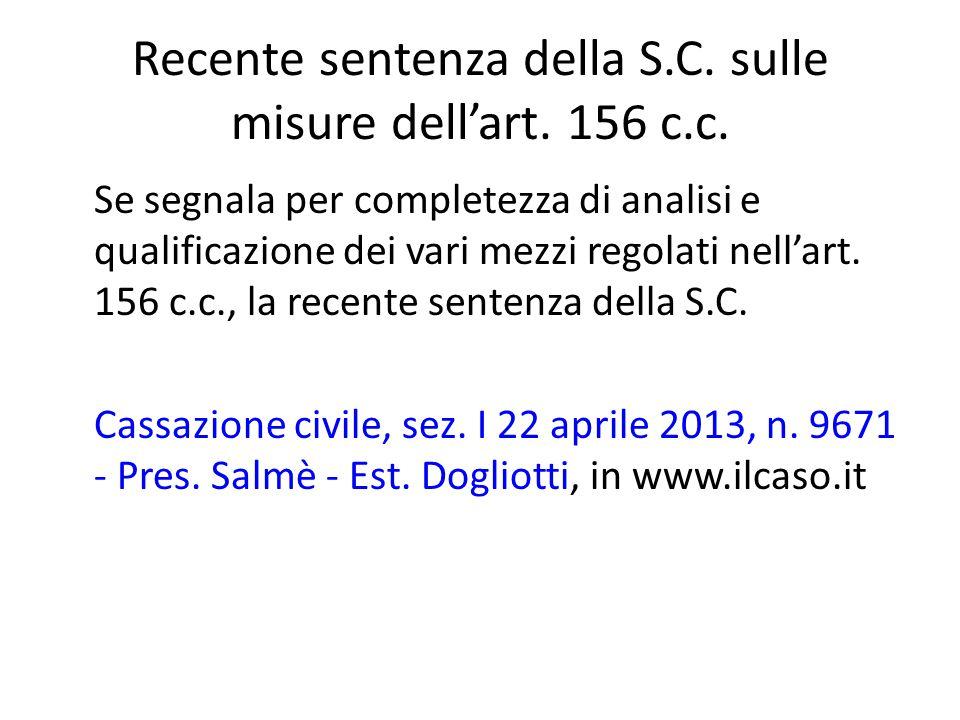 Recente sentenza della S.C. sulle misure dell'art. 156 c.c.