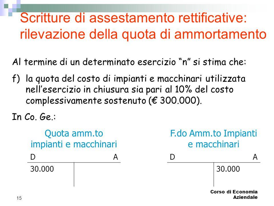 Scritture di assestamento rettificative: rilevazione della quota di ammortamento