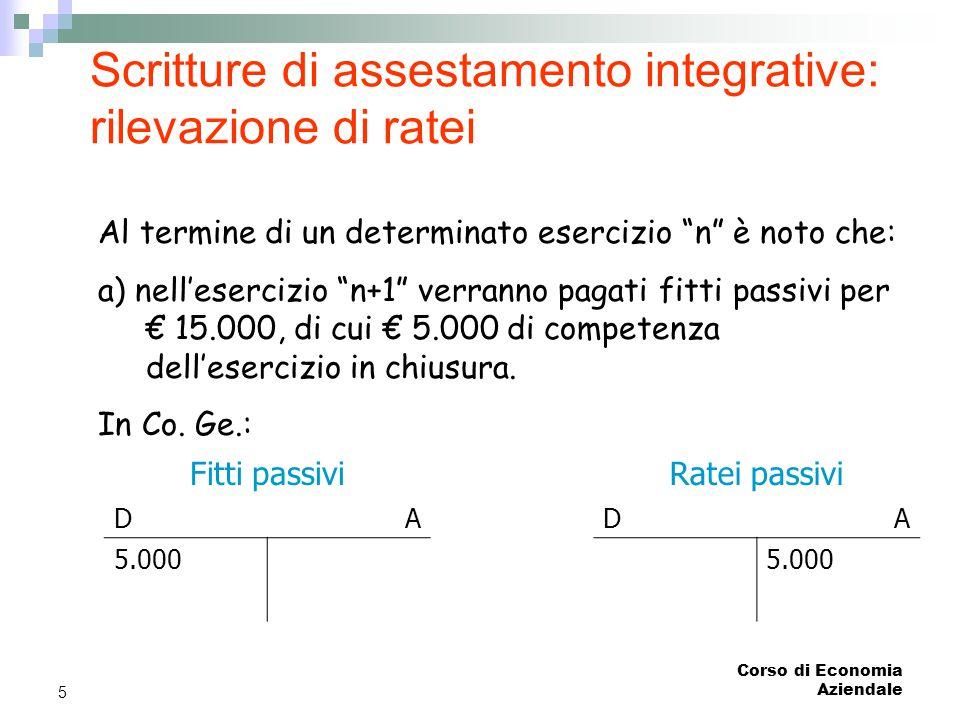 Scritture di assestamento integrative: rilevazione di ratei
