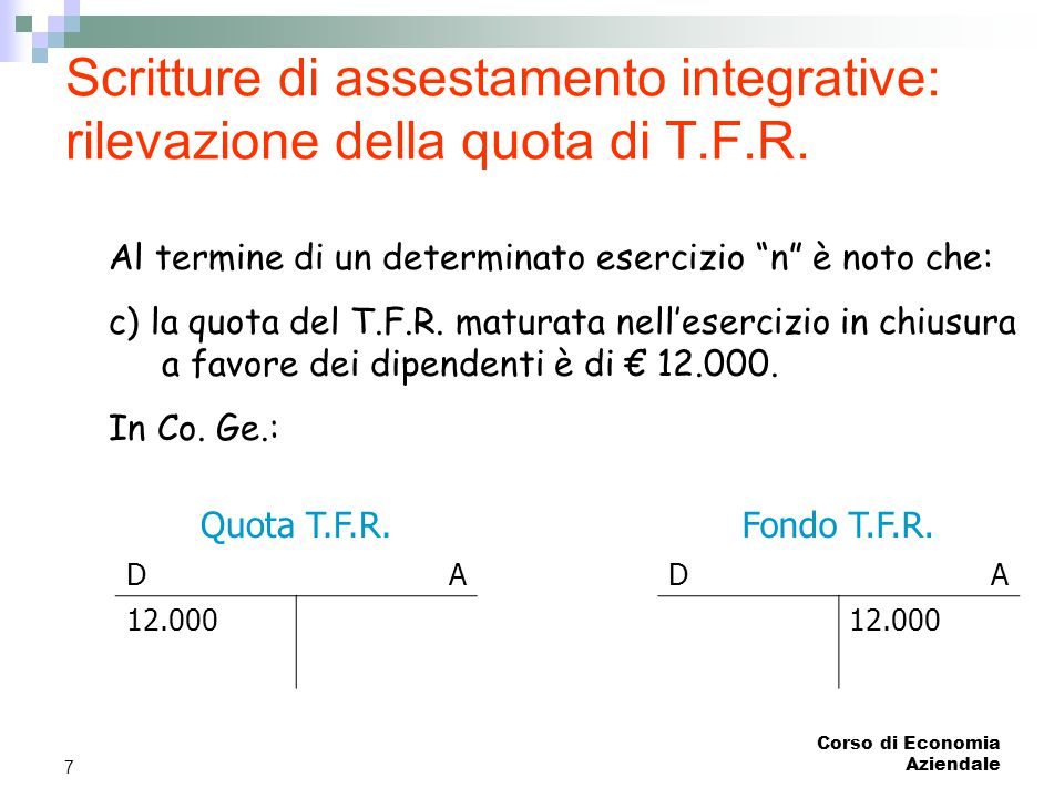 Scritture di assestamento integrative: rilevazione della quota di T. F