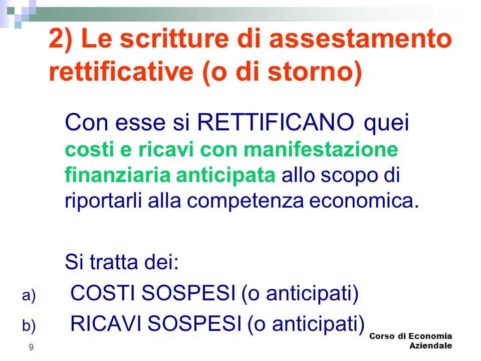 2) Le scritture di assestamento rettificative (o di storno)