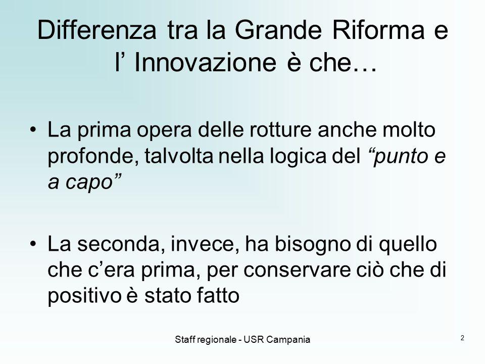 Differenza tra la Grande Riforma e l' Innovazione è che…