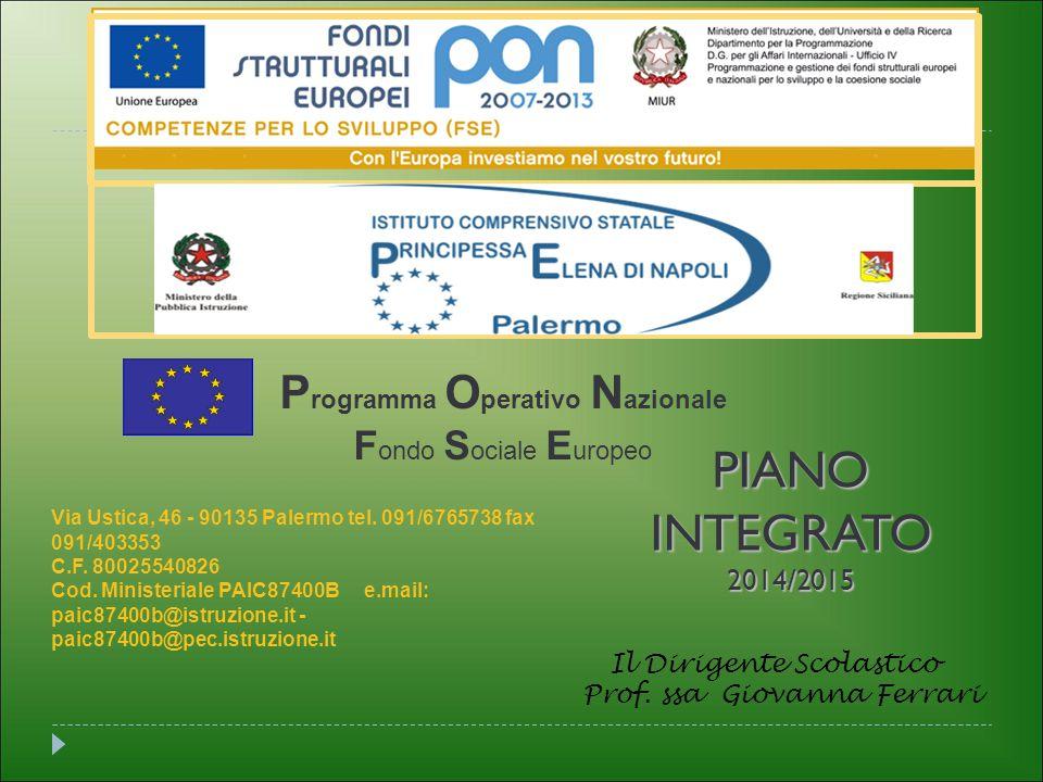 PIANO INTEGRATO Programma Operativo Nazionale Fondo Sociale Europeo