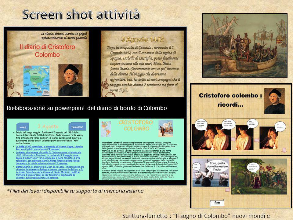 Screen shot attività Rielaborazione su powerpoint del diario di bordo di Colombo. *Files dei lavori disponibile su supporto di memoria esterna.