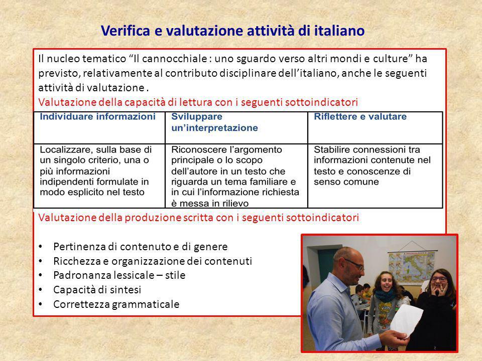 Verifica e valutazione attività di italiano